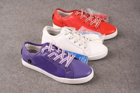 Closeout Pink Purple White PU Women Men Casual Shoes In Stock