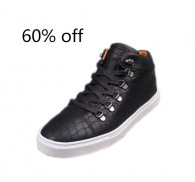Black High Top PU Board Casual Shoes For Men