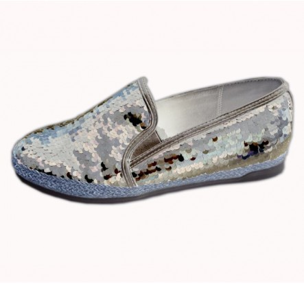 Flat Ladies Sequined Casual Shoes Womens Slip On Shoes Overstock