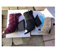 Ladies Chunky Heel Shoes Booties Stock Clearance Sale