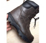 Man PU Steel Toe Boot  Brown Footwear Stock Lot Clearance