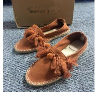 Brand Canva Flat Rope Sole Shoe Orange Color Stock For Woman
