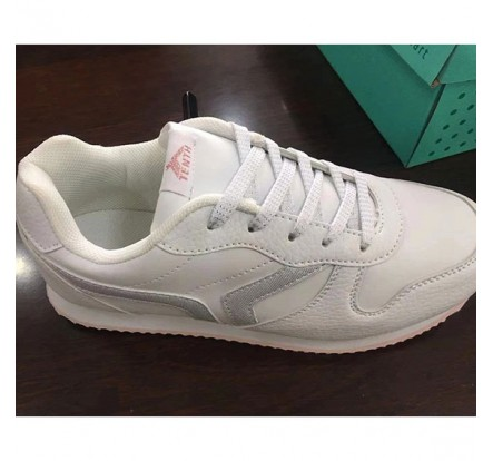 White Child Sneaker PU Shoes Unisex Stock Wholesale
