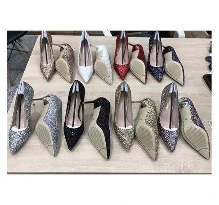 Sequin Pointed Toe Dress Shoes Women Heels New Stock