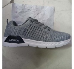 Male Mens Grey Sport Running Shoe Overs Left Stock