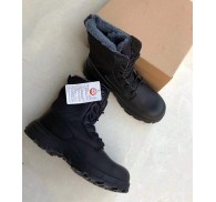 Black PU Safety Shoes Steel Toe Winter Stock For Men